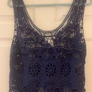 Tops - Navy blue lace overlay blouse/tank